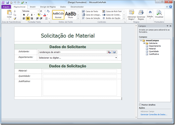 Publicando Formulário InfoPath no SharePoint 2010 (2/6)