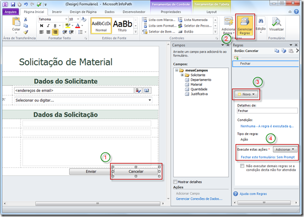 Publicando Formulário InfoPath no SharePoint 2010 (4/6)