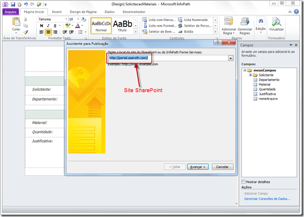 Publicando Formulário InfoPath no SharePoint 2010 (6/6)